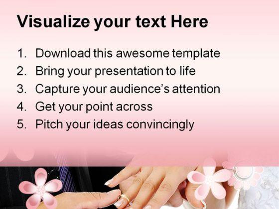 groom wears ring bride wedding powerpoint templates and powerpoint, Powerpoint templates