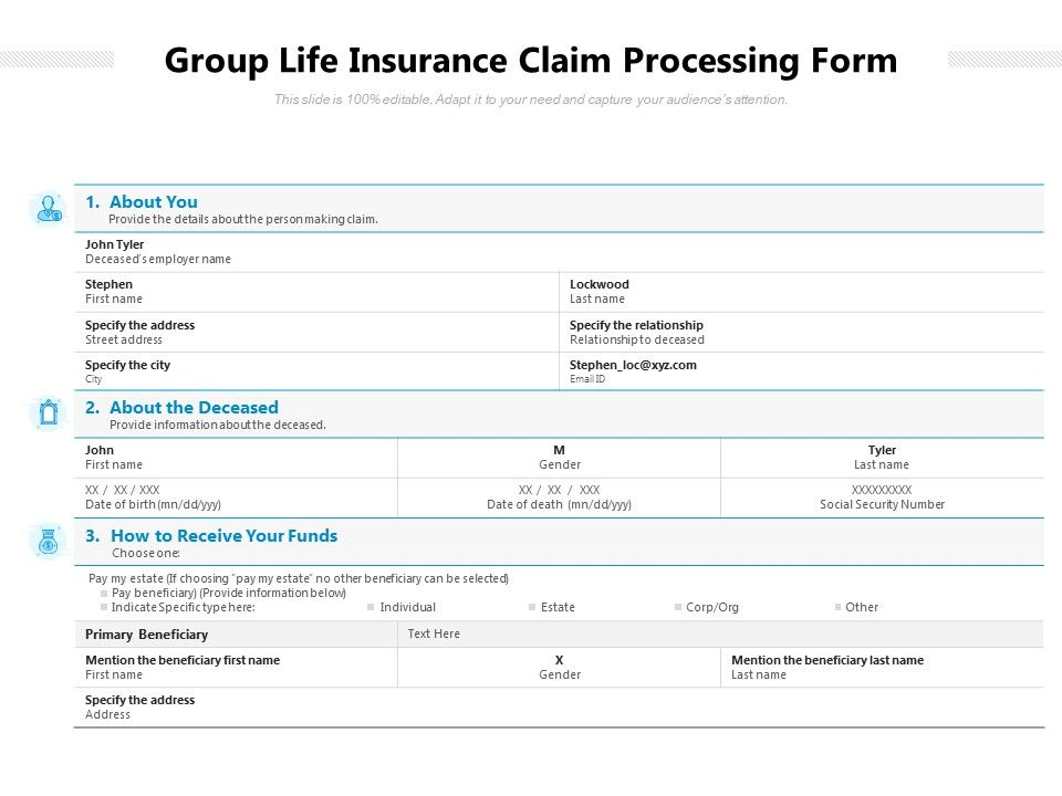 Group Life Insurance Claim Processing Form
