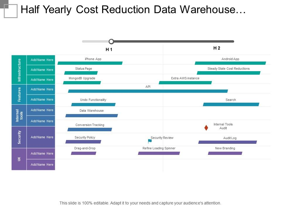 Half Yearly Cost Reduction Data Warehouse Development Timeline