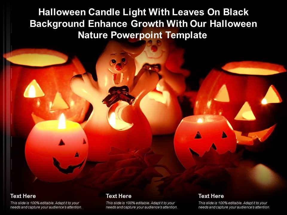 Halloween Candle Light With Leaves On Black Enhance Growth With Our Halloween Nature Template