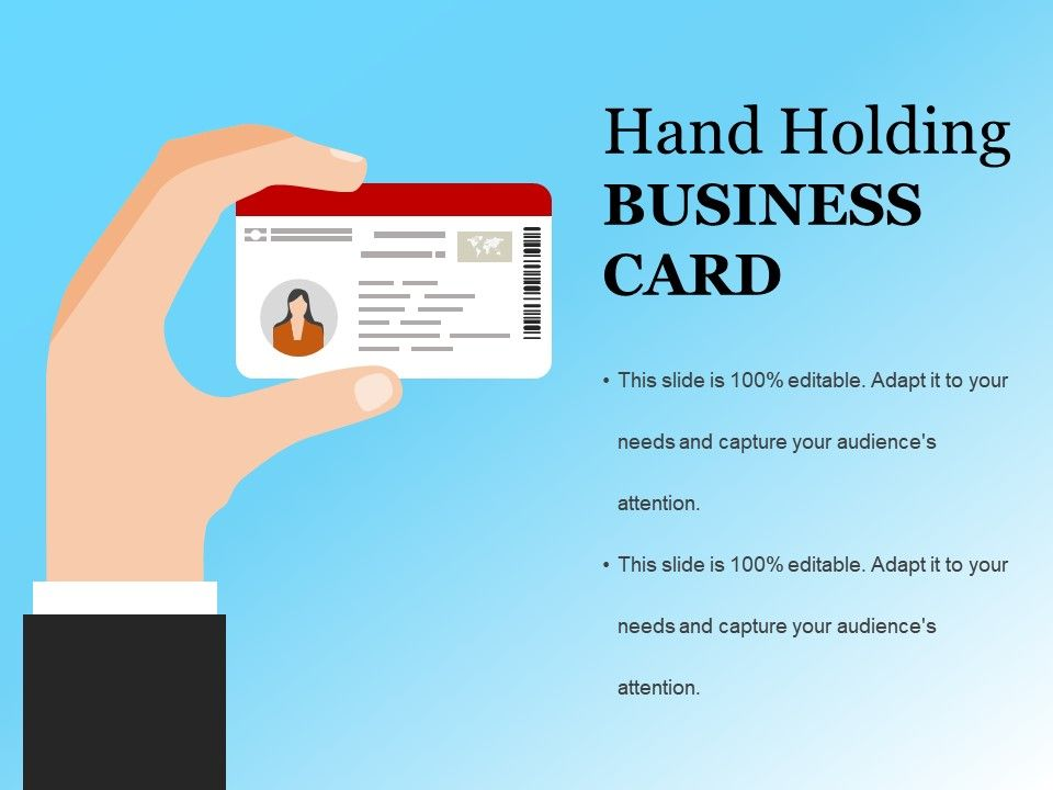 hand holding business card example ppt presentation | powerpoint, Modern powerpoint