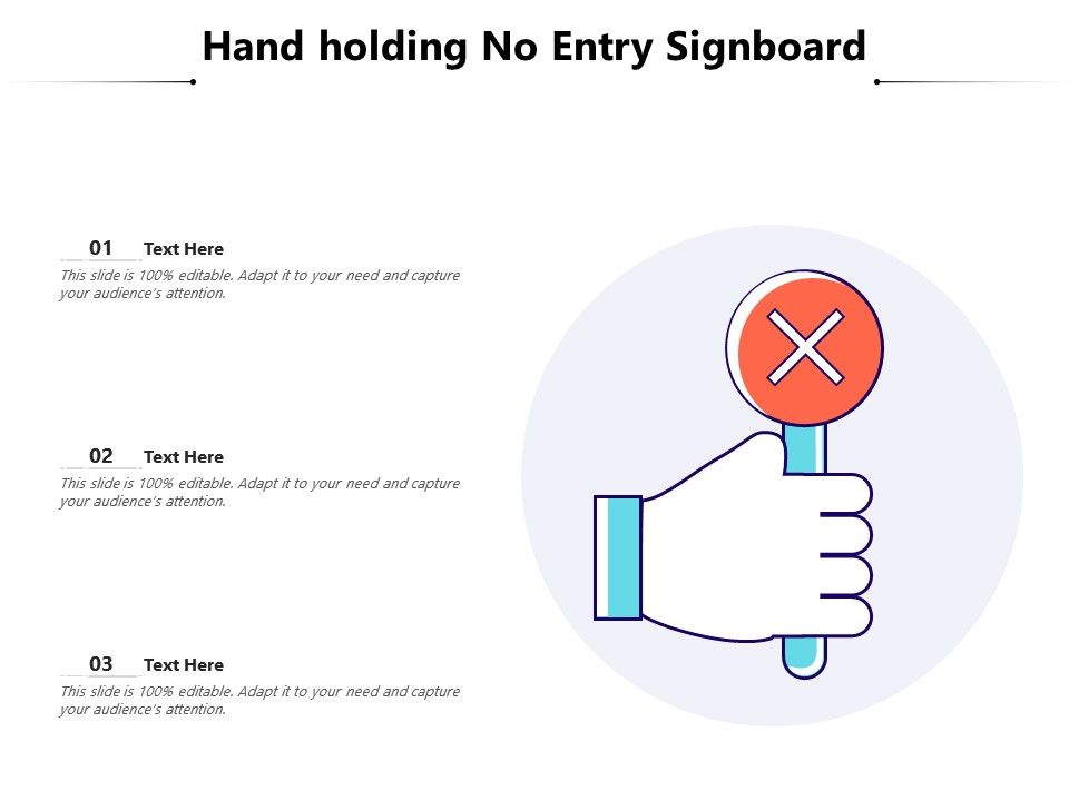 Hand Holding No Entry Signboard