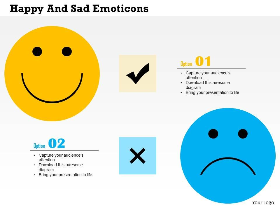 Happy And Sad Emoticons Flat Powerpoint Design Powerpoint