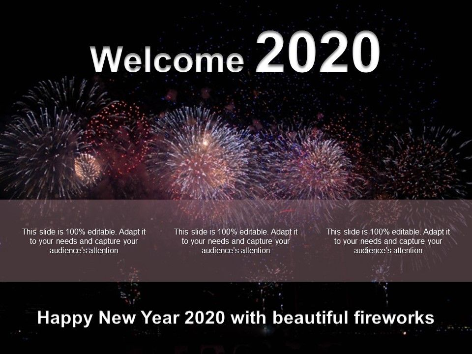 Happy New Year 2020 With Beautiful Fireworks Ppt Icons