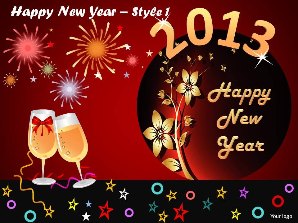 happy new year style 1 powerpoint slides | powerpoint presentation, Presentation templates
