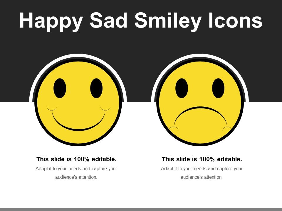 Happy Sad Smiley Icons | PowerPoint Slide Clipart | Example