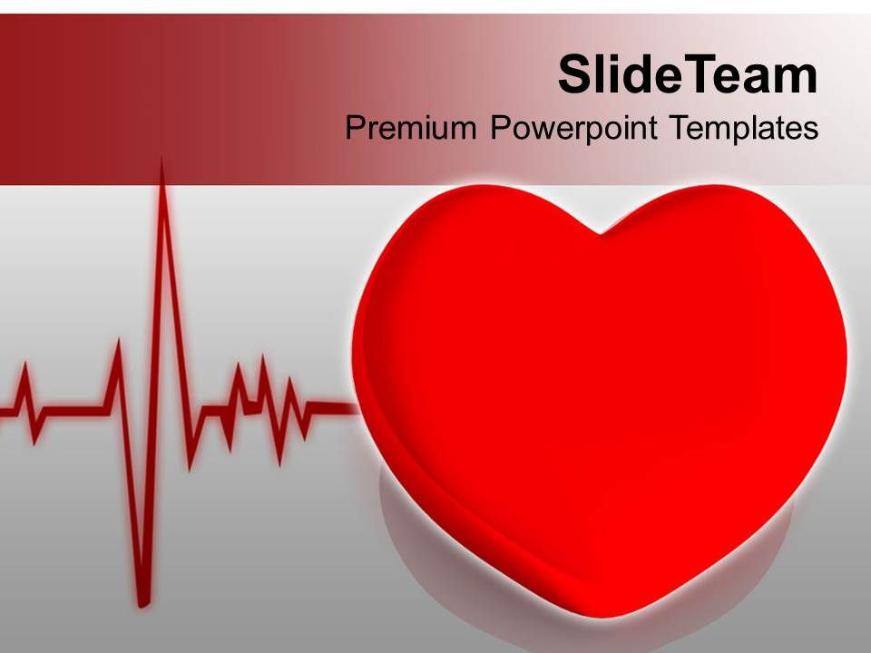 heart with heart beat cardiogram health powerpoint templates ppt, Modern powerpoint