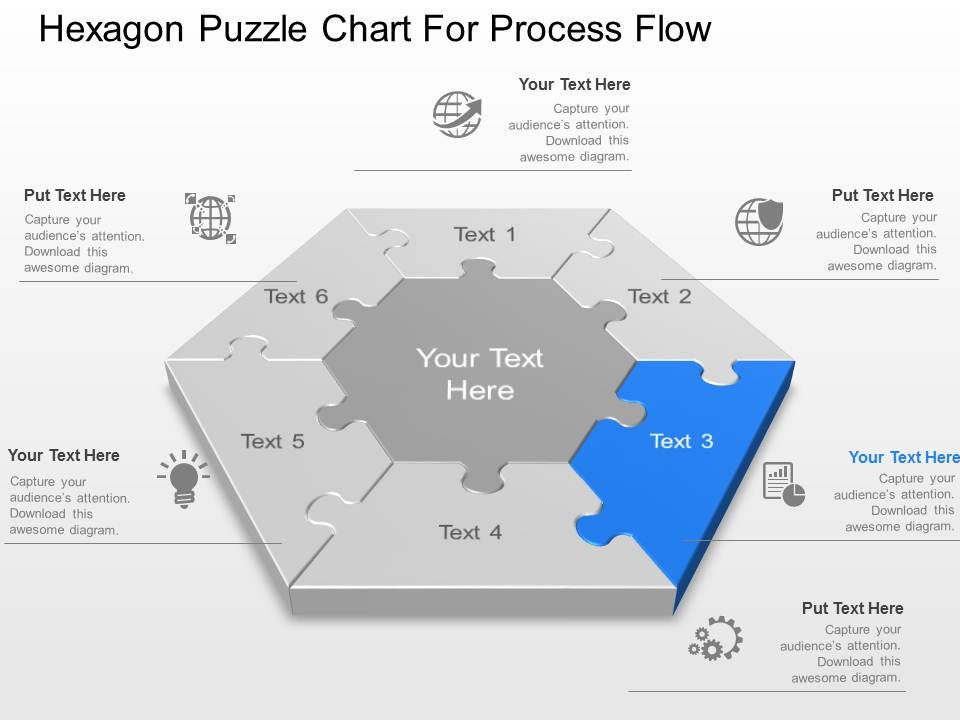 Hexagon Puzzle Chart For Process Flow Powerpoint Template Slide ...