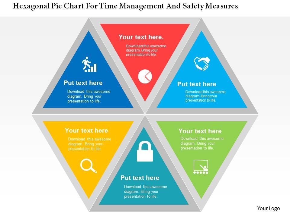 Hexagonal Pie Chart For Time Management And Safety Measures Flat Point Design Slide01