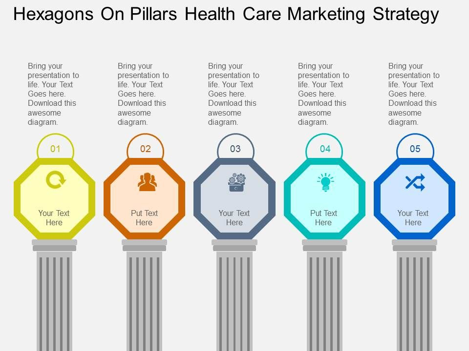 hexagons_on_pillars_health_care_marketing_strategy_flat_powerpoint_desgin_Slide01