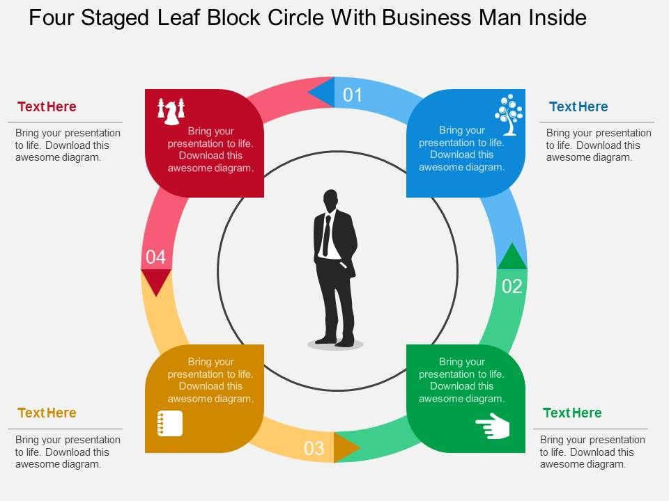 Hf Four Staged Leaf Block Circle With Business Man Inside Flat Powerpoint Design
