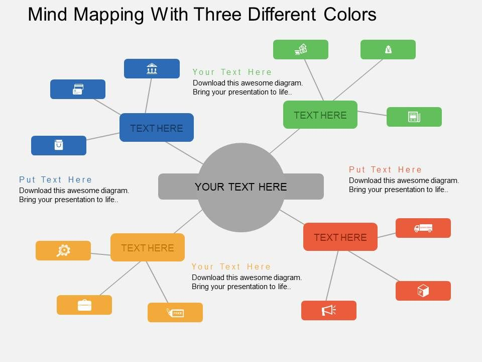 hf mind mapping with three different colors flat powerpoint design