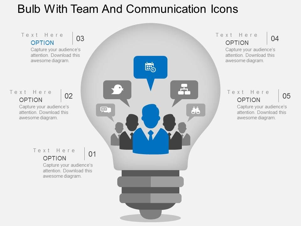hg_bulb_with_team_and_communication_icons_flat_powerpoint_design_Slide01