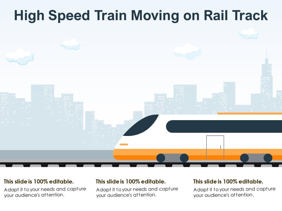 High Speed Train Moving On Rail Track