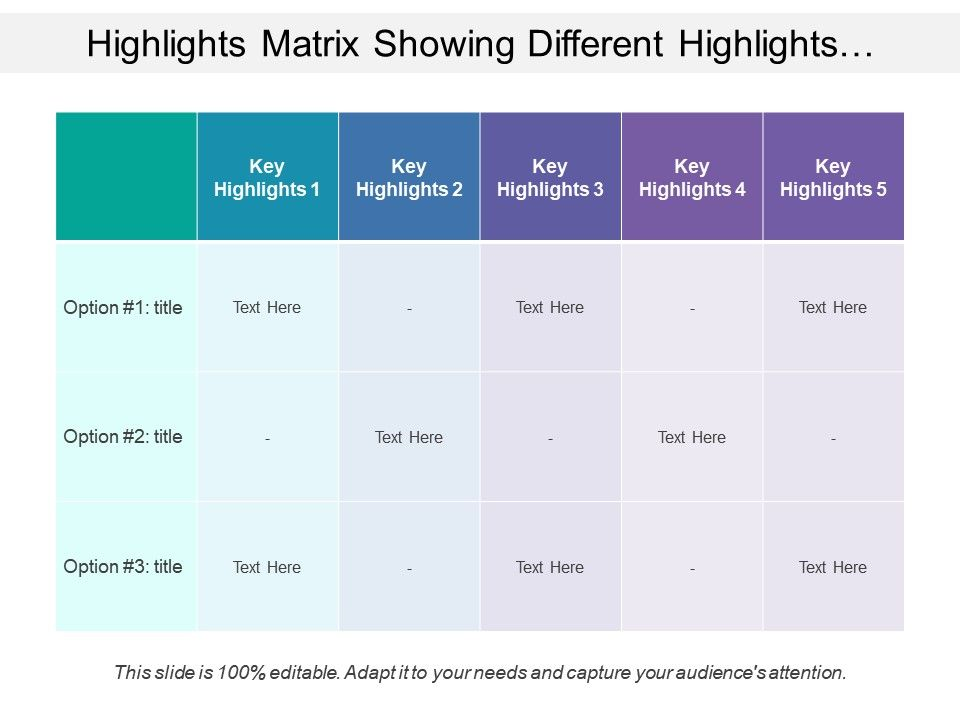 highlights_matrix_showing_different_highlights_with_text_options_Slide01
