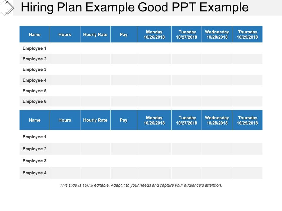 Hiring Plan Example Good Ppt Example | PowerPoint Slide