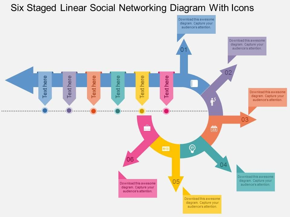 Hk Six Staged Linear Social Networking Diagram With Icons Flat