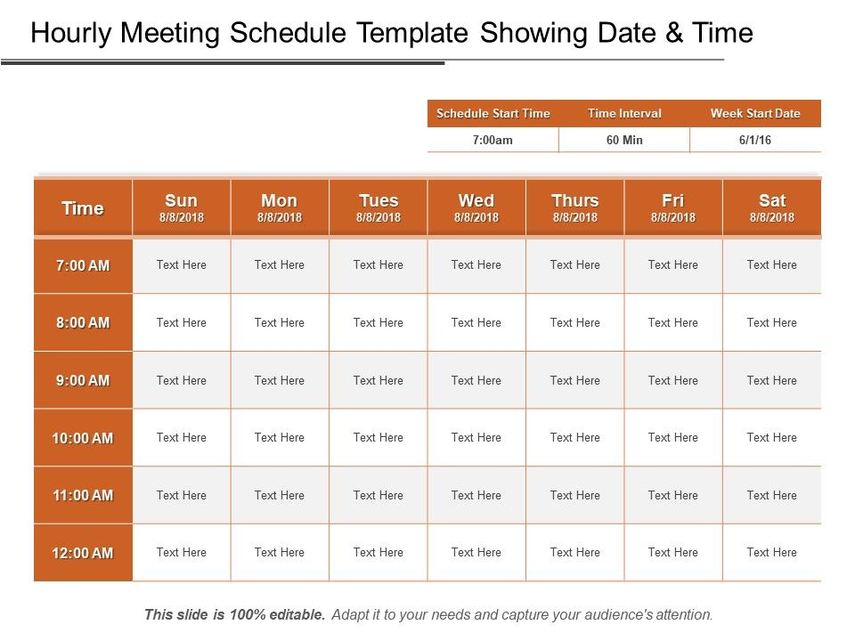 Hourly Meeting Schedule Template Showing Date And Time Ppt Design Powerpoint Presentation Designs Slide Ppt Graphics Presentation Template Designs