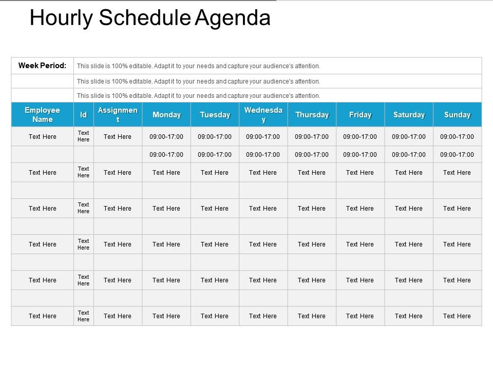 hourly timetable template