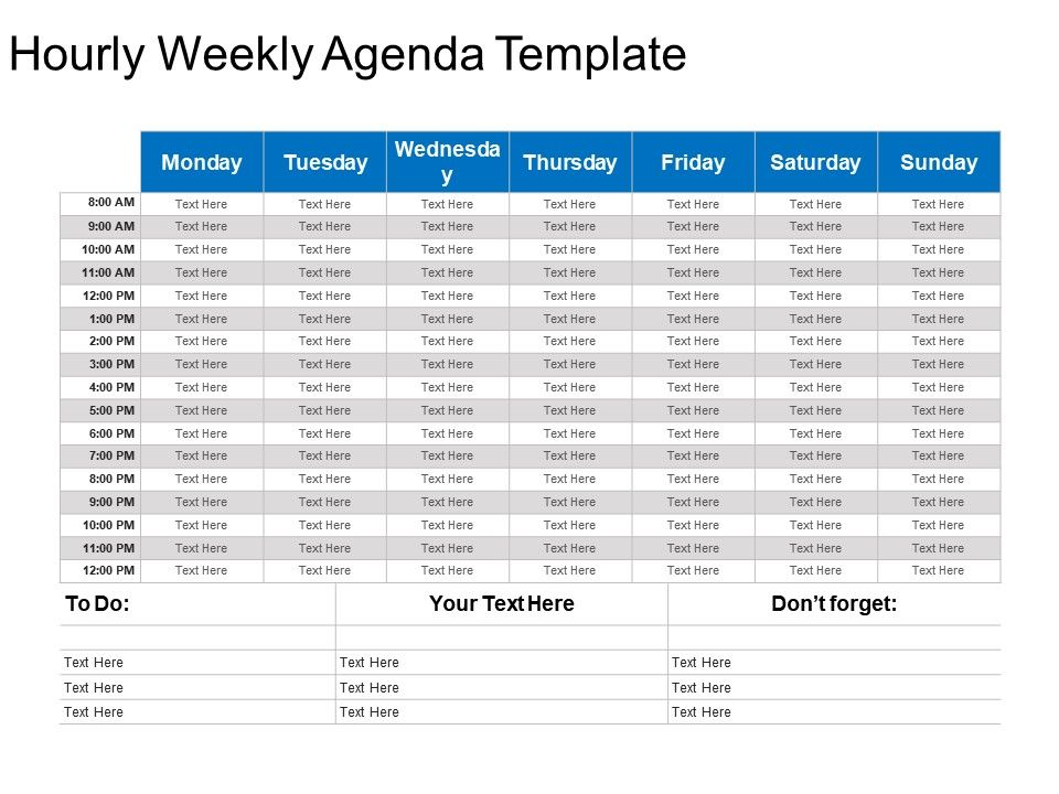 Hourly Weekly Agenda Template Powerpoint Slide Template