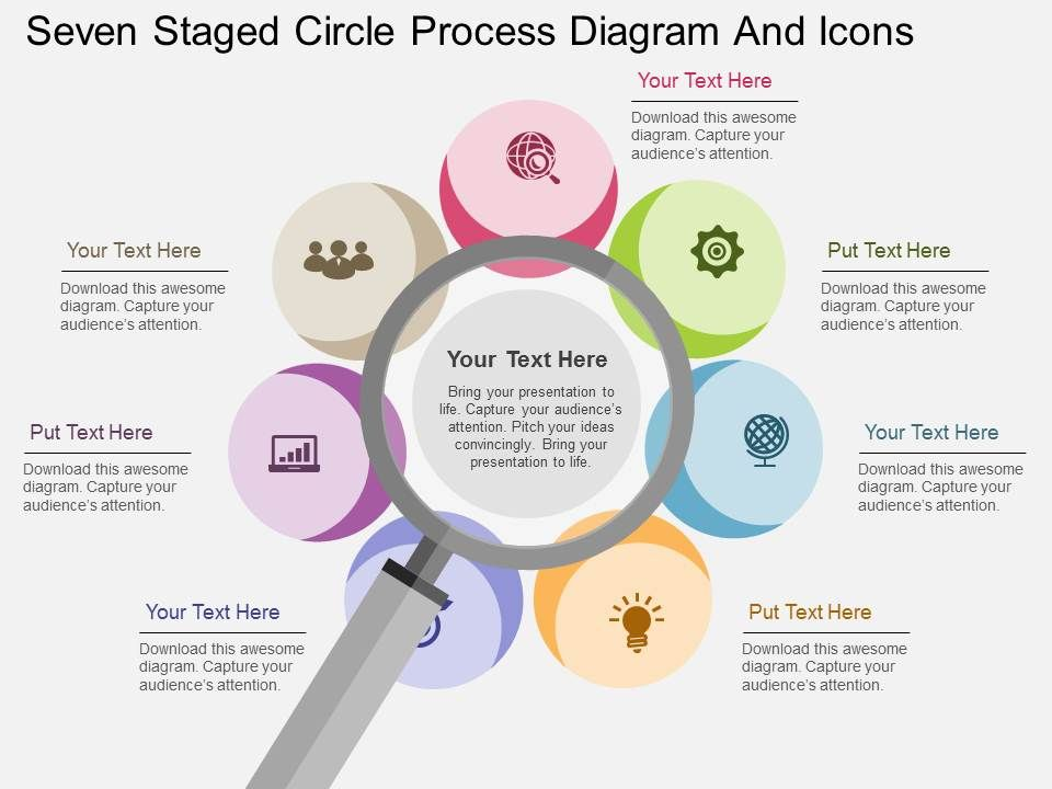 hp seven staged circle process diagram and icons flat powerpoint
