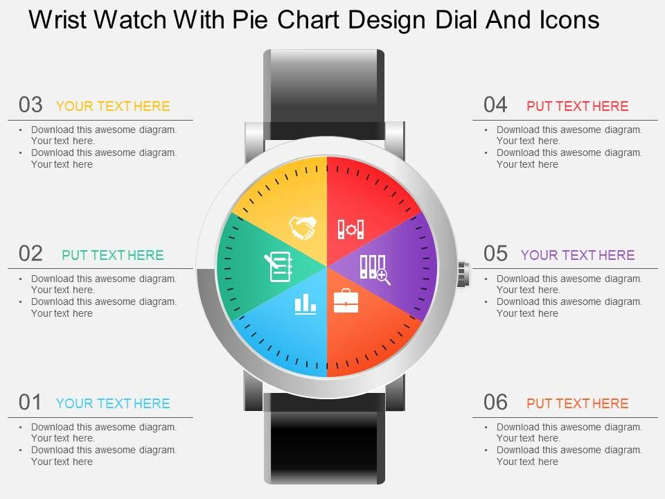 hp wrist watch with pie chart design dial and icons powerpointhp_wrist_watch_with_pie_chart_design_dial_and_icons_powerpoint_template_slide01