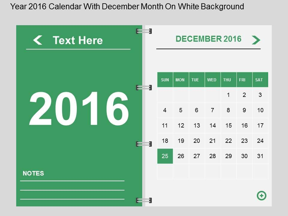 Hq Year 2016 Calendar With December Month On White Background Flat