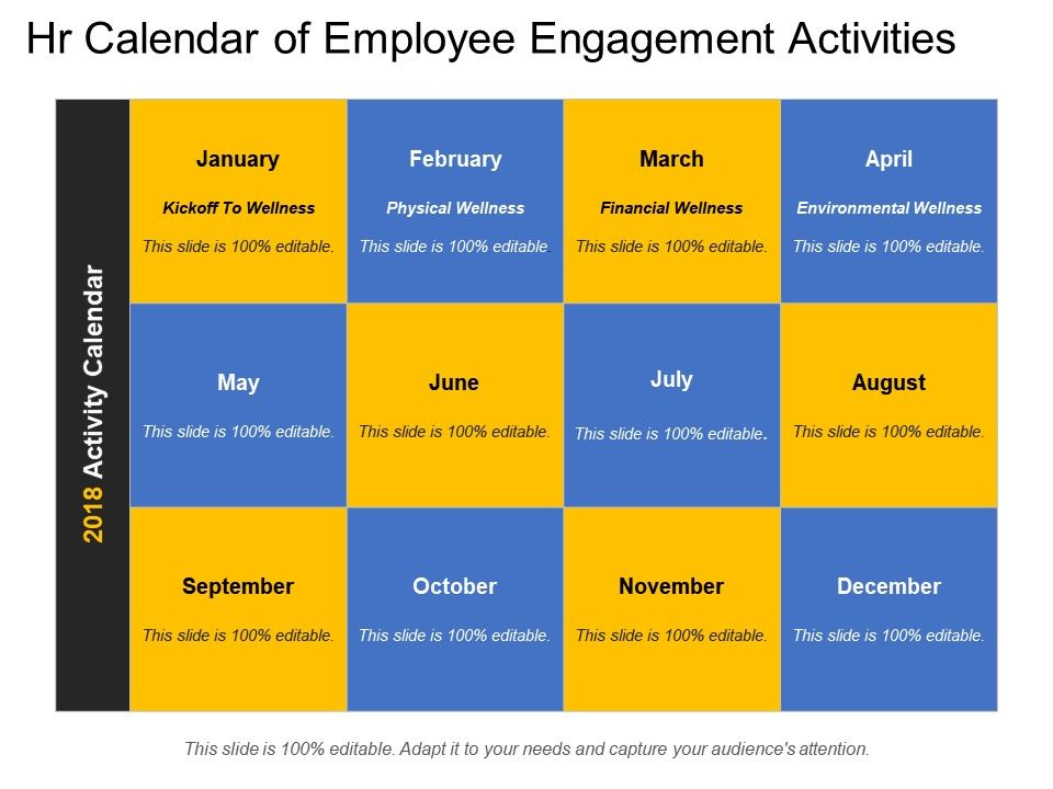Engagement >> hr calendar of employee engagement activities Slide01
