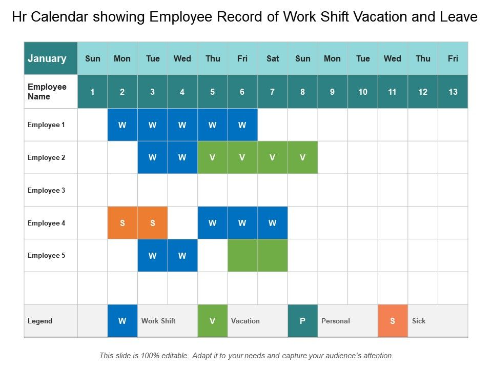 Hr Calendar Showing Employee Record Of Work Shift Vacation And