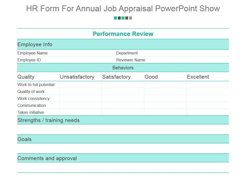 Hr Form For Annual Job Appraisal Powerpoint Show  Graphics