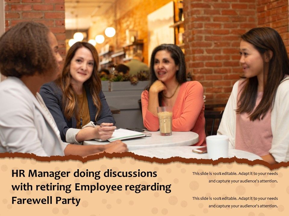 Hr Manager Doing Discussions With Retiring Employee Regarding Farewell Party