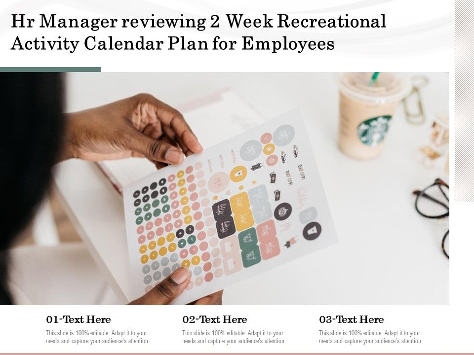 Hr Manager Reviewing 2 Week Recreational Activity Calendar