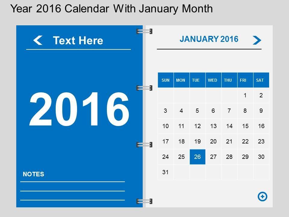 Calendar Design Powerpoint : Hs year calendar with january month flat powerpoint