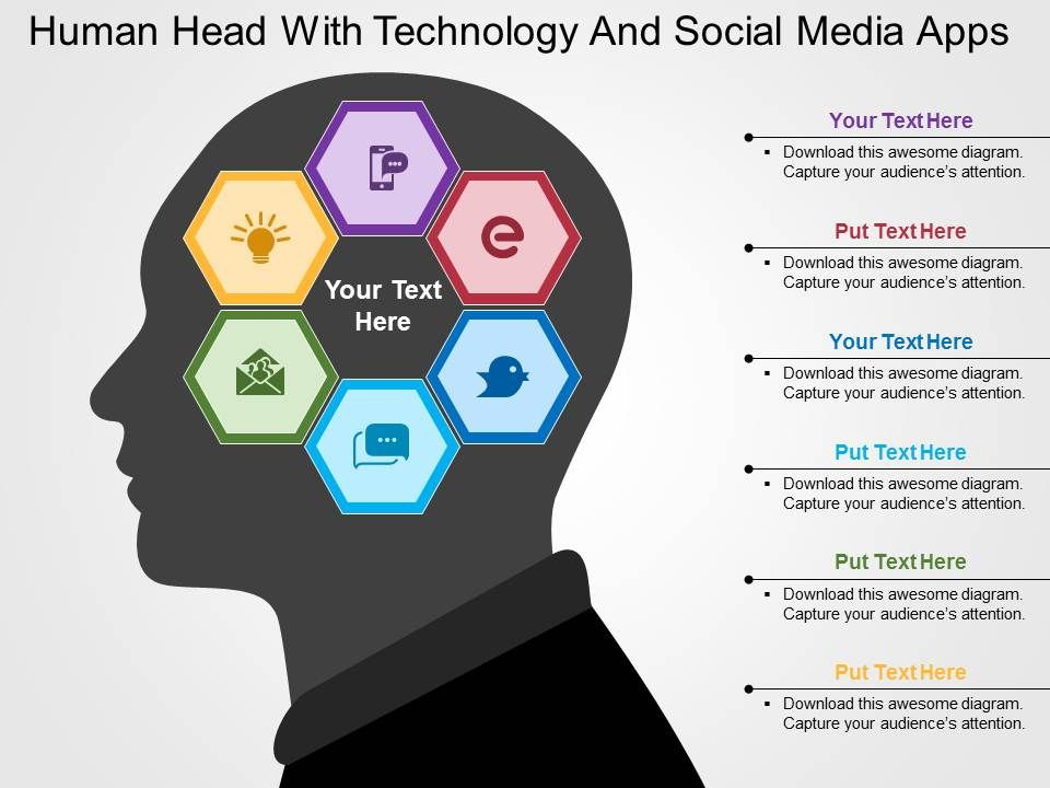 Human head with technology and social media apps flat powerpoint humanheadwithtechnologyandsocialmediaappsflatpowerpointdesignslide01 sciox Images