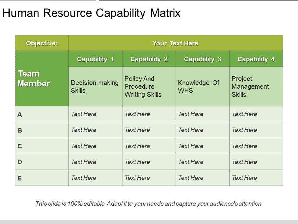 human resource capability matrix powerpoint ideas presentation