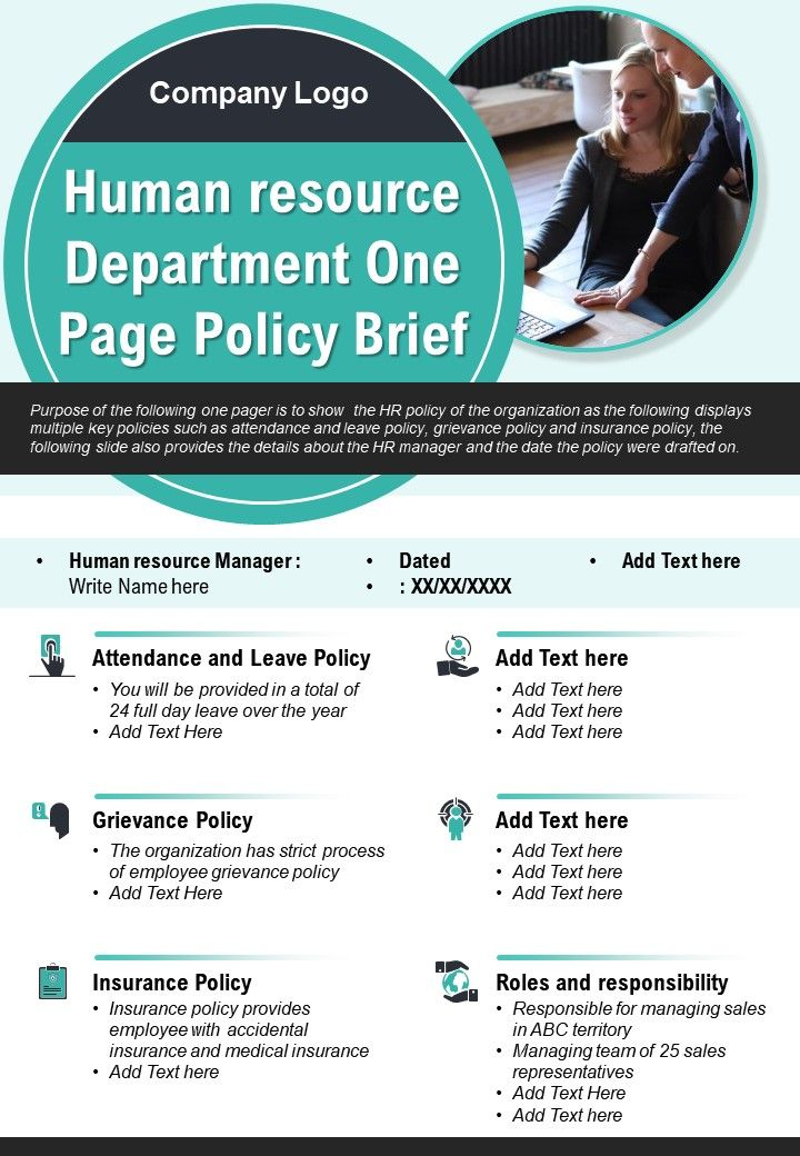 Human Resource Department One Page Policy Brief Presentation Report Infographic PPT PDF Document