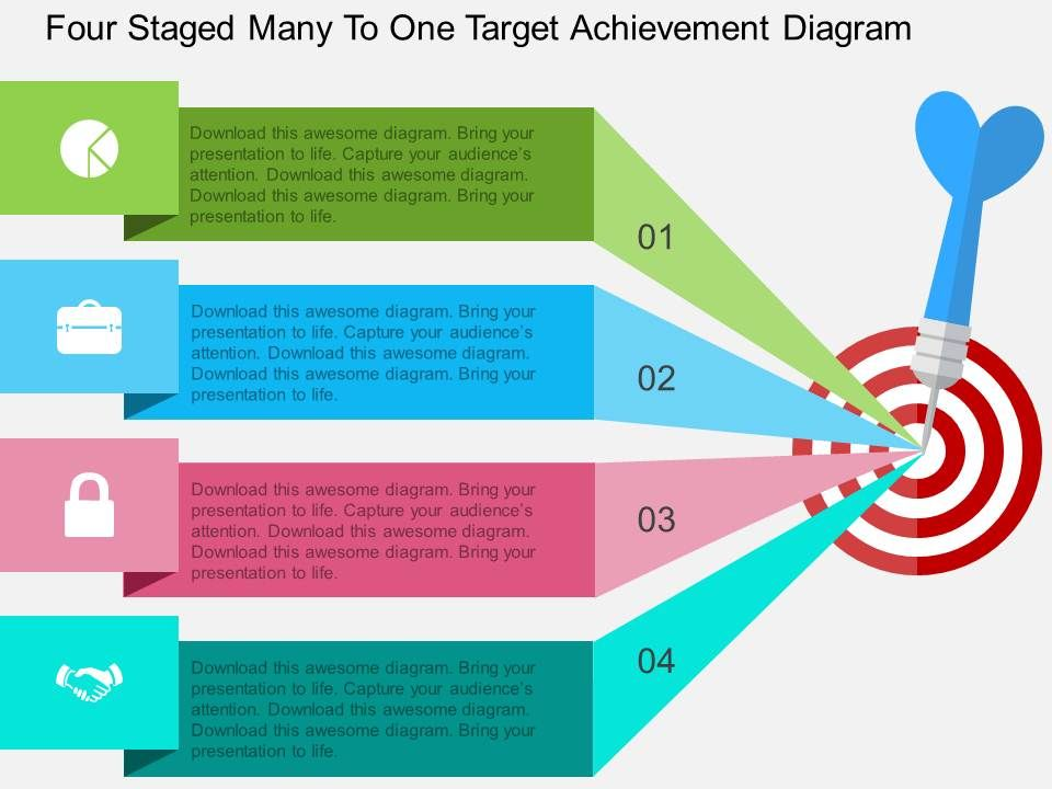Hx four staged many to one target achievement diagram flat hxfourstagedmanytoonetargetachievementdiagramflatpowerpointdesignslide01 ccuart Choice Image