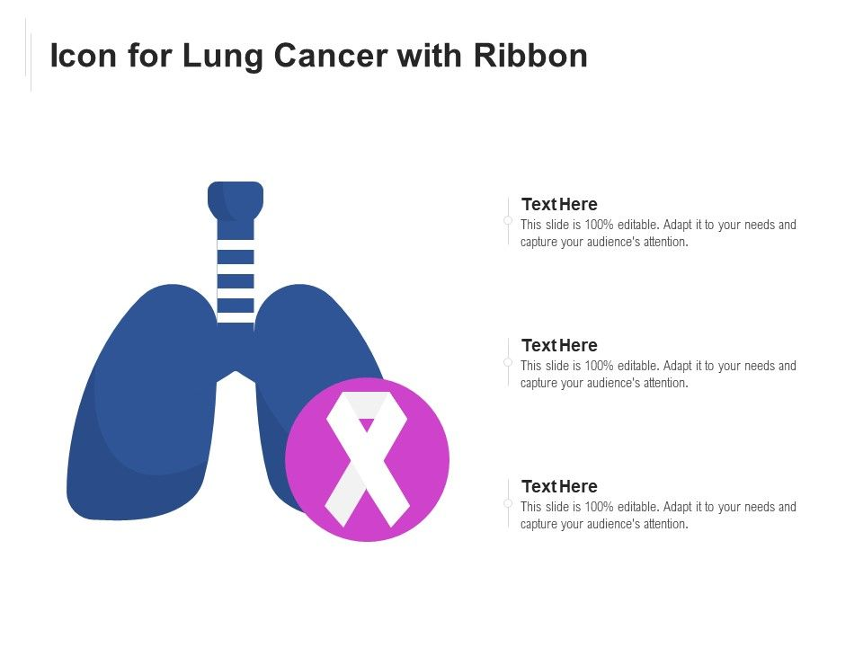 Icon For Lung Cancer With Ribbon Presentation Graphics Presentation Powerpoint Example Slide Templates
