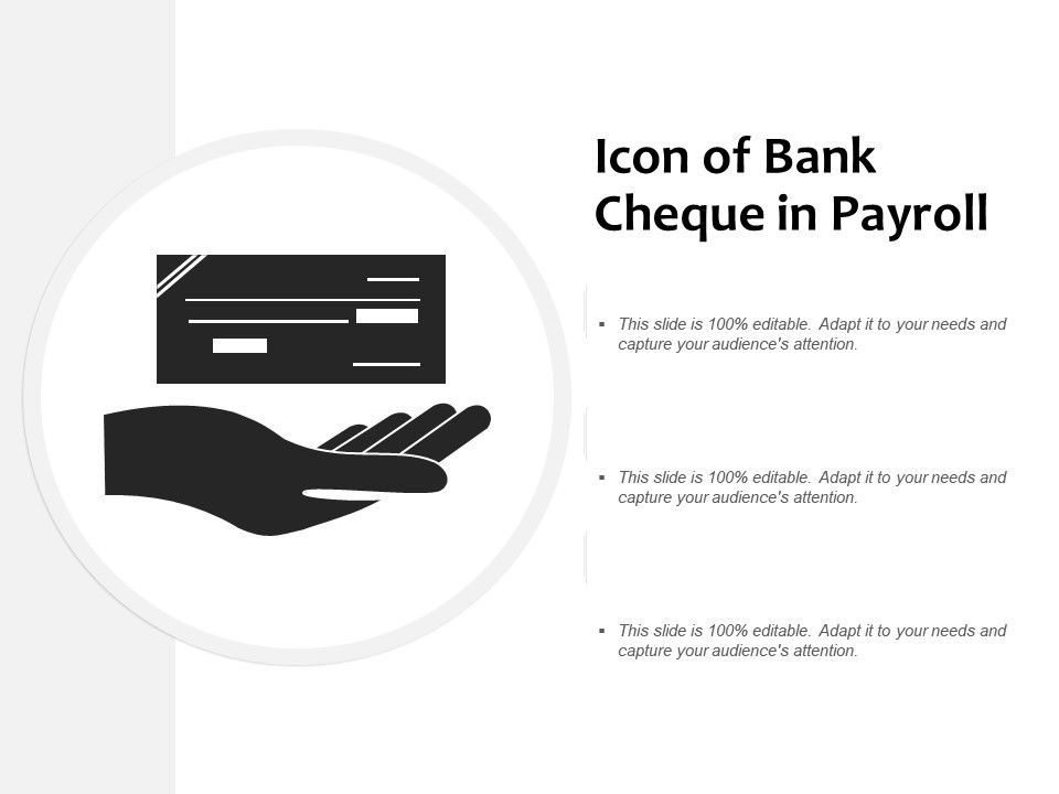 Icon Of Bank Cheque In Payroll   PPT Images Gallery