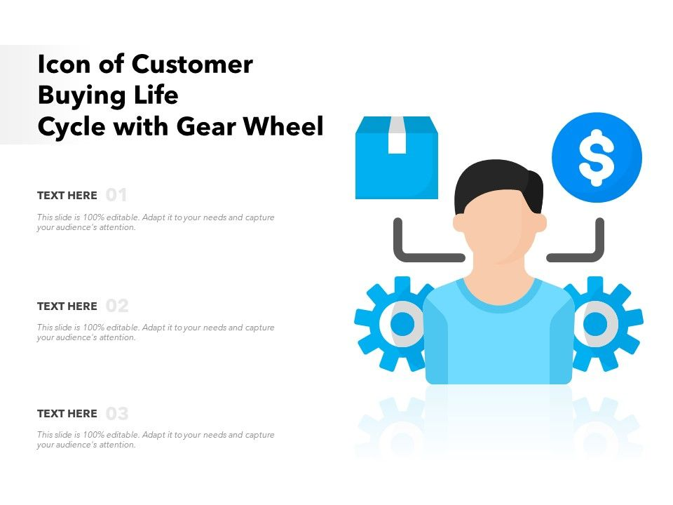 Icon Of Customer Buying Life Cycle With Gear Wheel