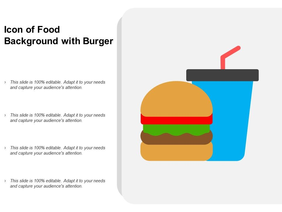 Icon Of Food Background With Burger Powerpoint