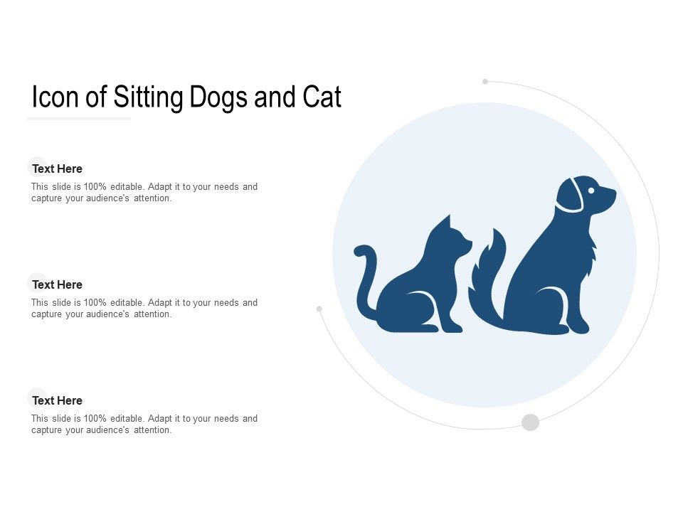 Icon Of Sitting Dogs And Cat Powerpoint Presentation