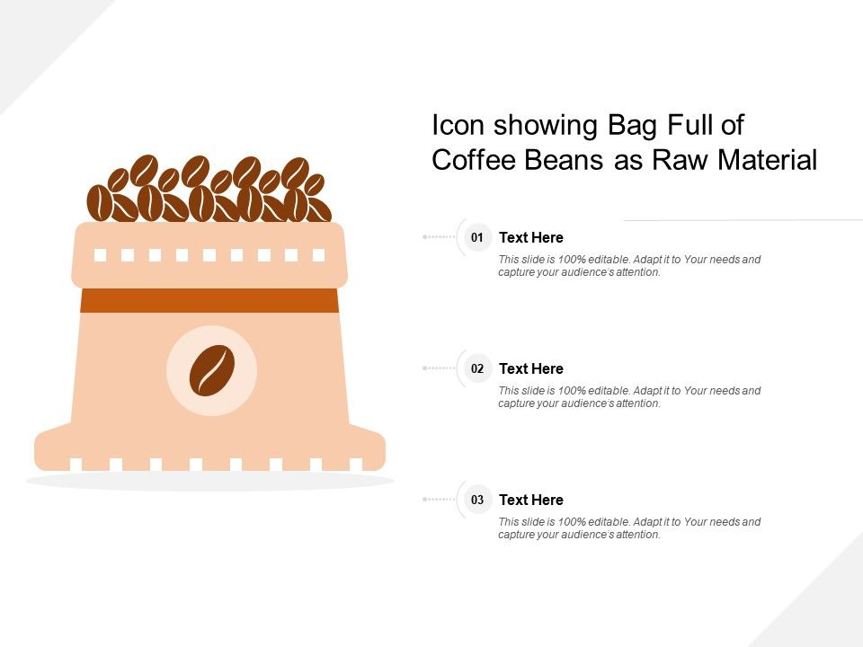 Icon Showing Bag Full Of Coffee Beans As Raw Material