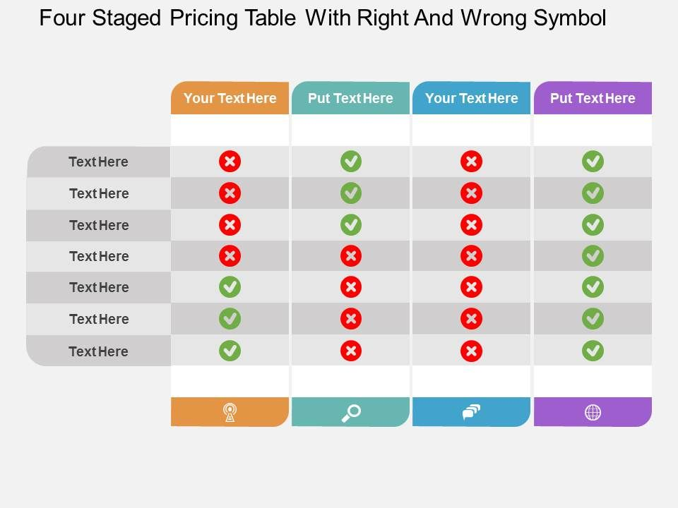 Id four staged pricing table with right and wrong symbol for Table design presentation