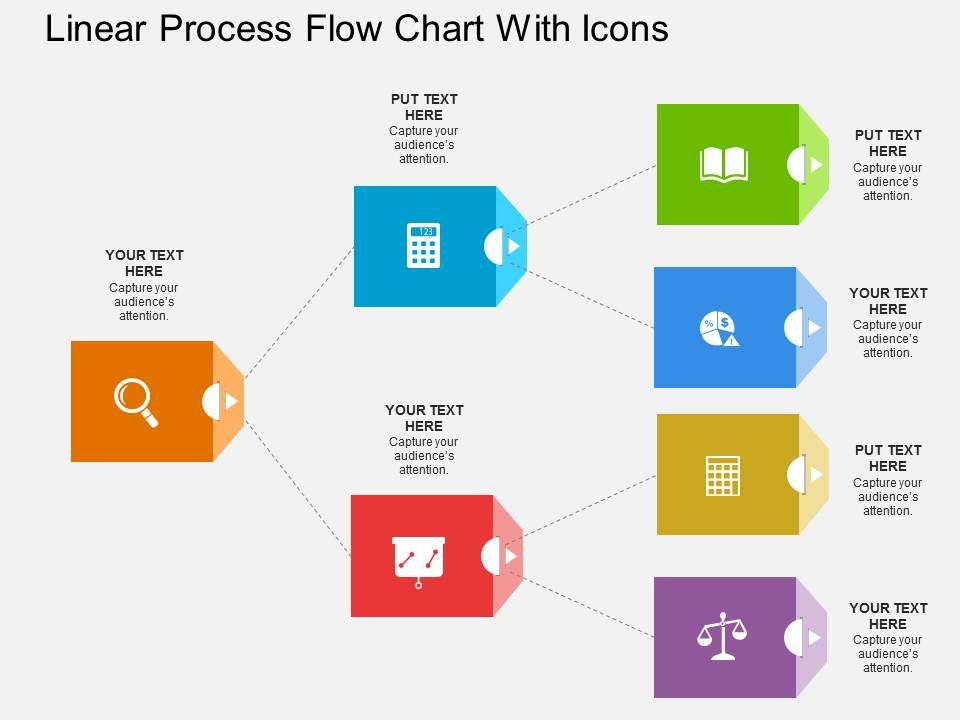 ig linear process flow chart with icons flat powerpoint design