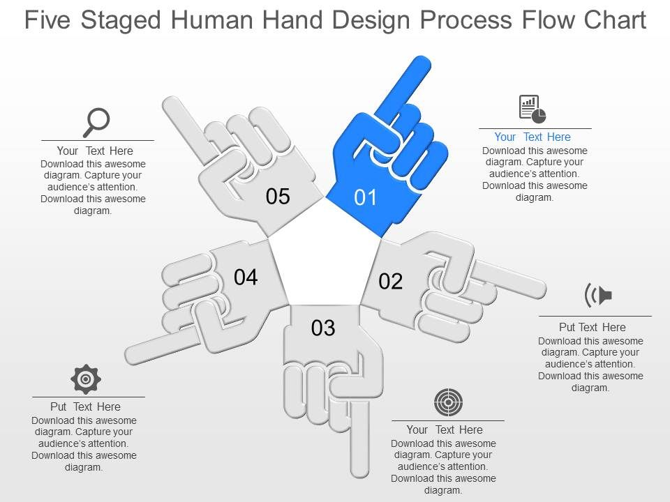 il_five_staged_human_hand_design_process_flow_chart_powerpoint_template_Slide01