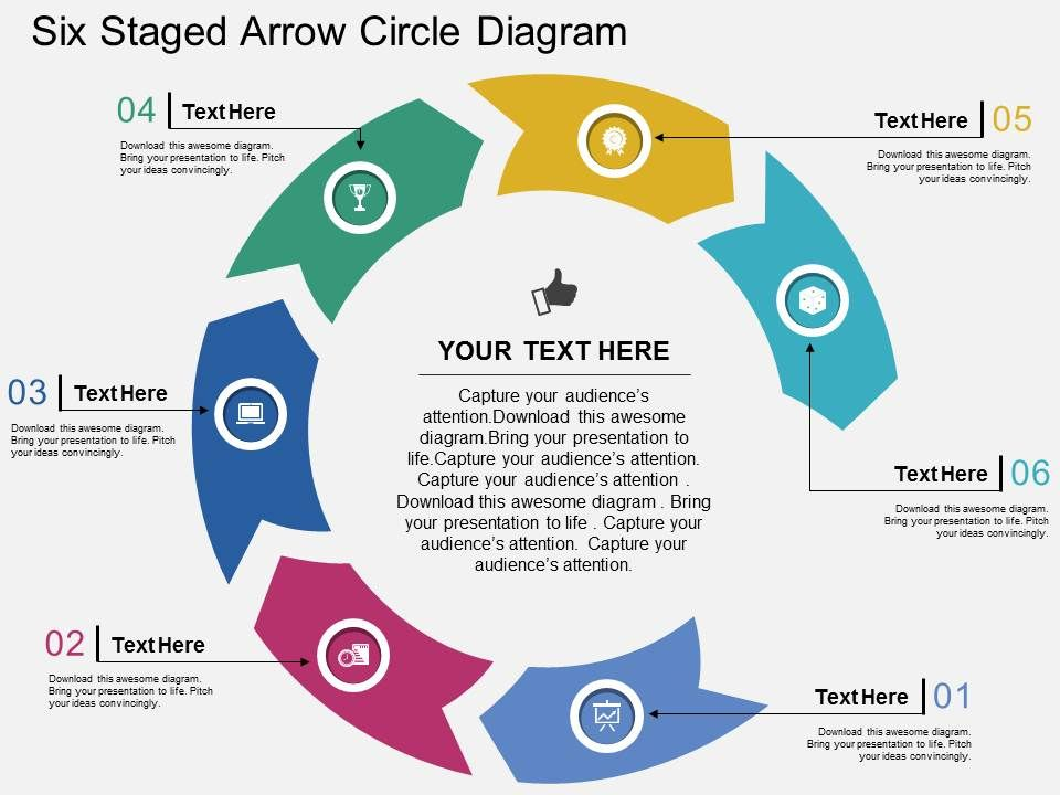 Il Six Staged Arrow Circle Diagram Flat Powerpoint Design ...