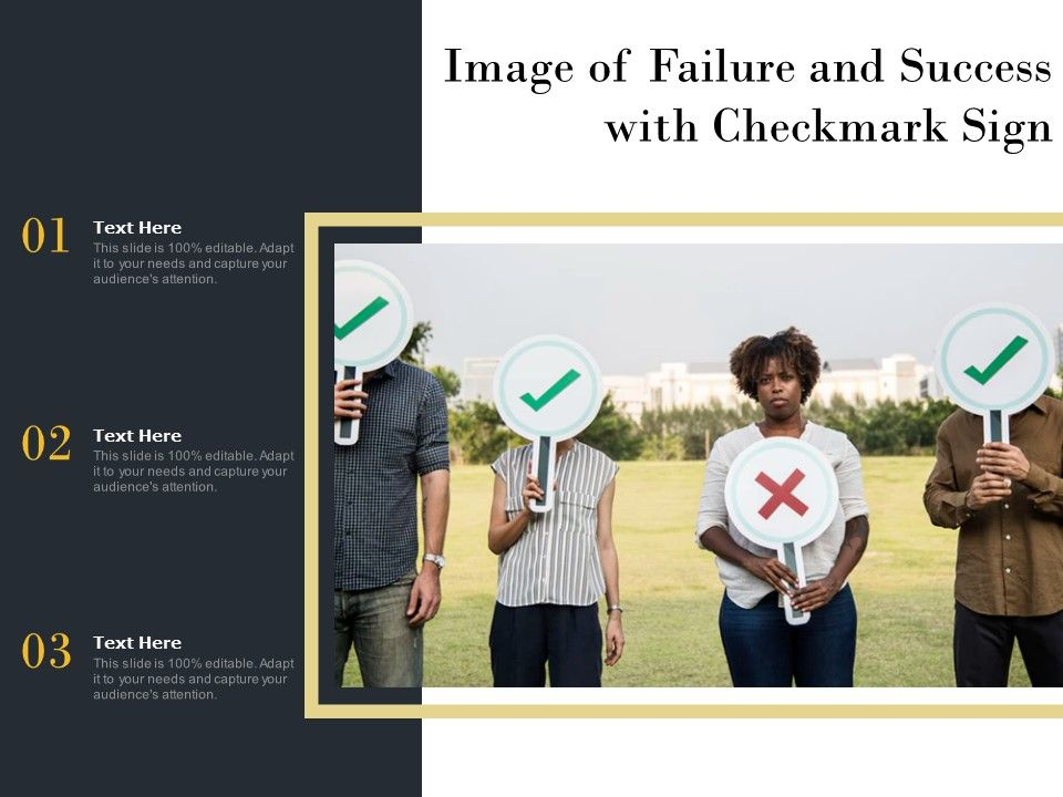 Image Of Failure And Success With Checkmark Sign