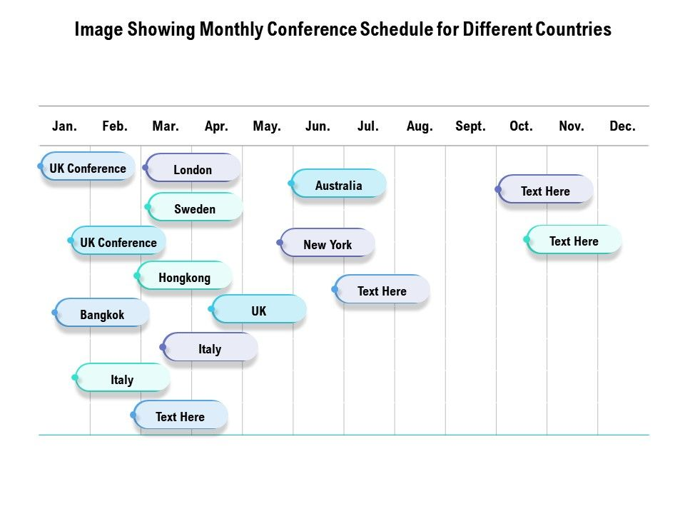 Image Showing Monthly Conference Schedule For Different Countries