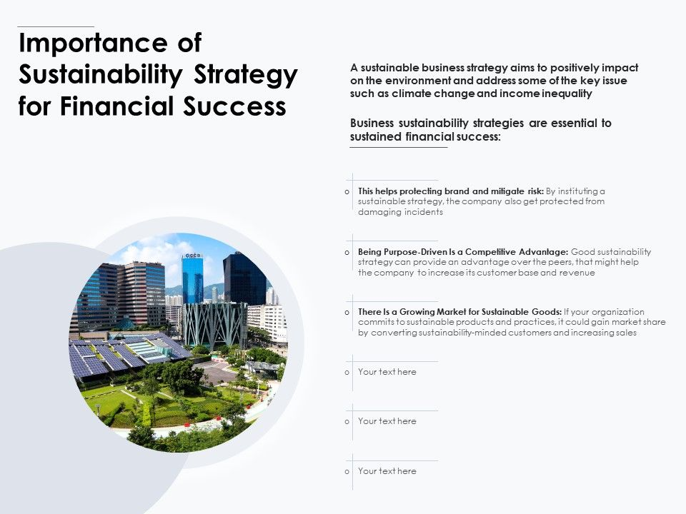 Importance Of Sustainability Strategy For Financial Success